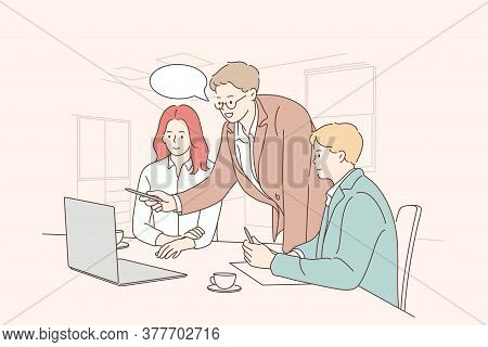 Teamwork, Coworking, Business, Analysis, Meeting Concept. Team Businessmen Woman Clerks Managers Cow