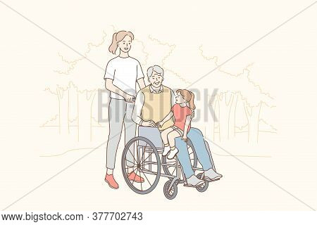 Health, Care, Disability, Medicine, Family, Love Concept. Young Woman Mother Riding Disabled Handica