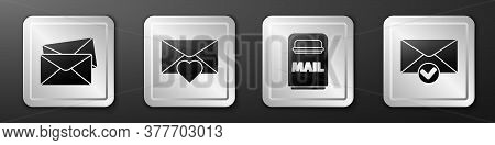 Set Envelope, Envelope With Valentine Heart, Mail Box And Envelope And Check Mark Icon. Silver Squar