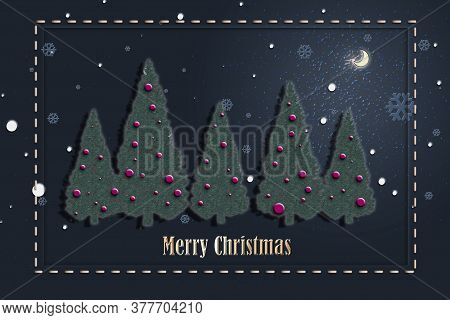 Elegant Stylish Christmas Card In Blue Green White Colours With Tree, Snowflakes And Gold Text Merry