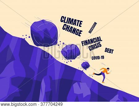 Stone Rocks Rolling Falling Down On A Man With Face Mask Corona Financial Recession, Climate Change