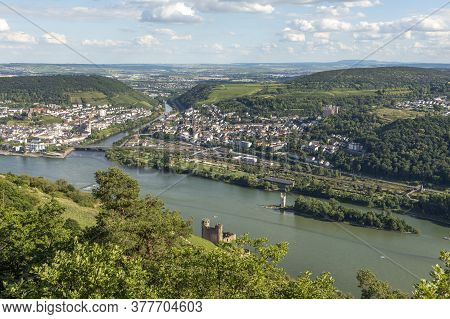 View To River Rhine And River Nahe At Ruedesheim, Germany