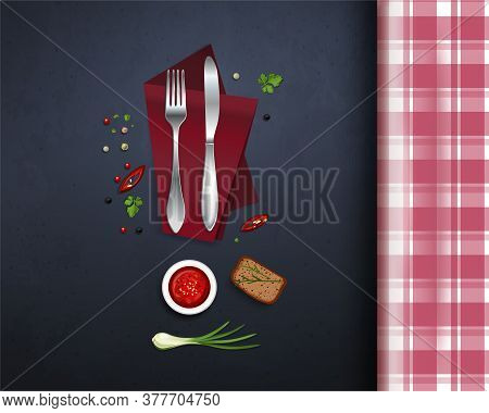 Table With A Checkered Tablecloth. Knife And Fork, Napkin And Spices On The Kitchen Table. Table Set