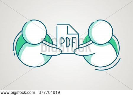 Share Pdf File Icon. Man Give Document. Hosting Service Banner. Cloud Storage Design. People Online