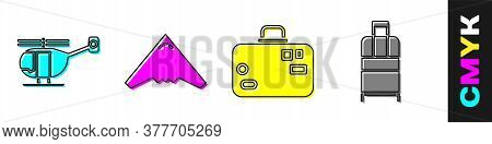 Set Helicopter, Jet Fighter, Suitcase And Suitcase Icon. Vector