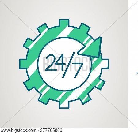 24-7 Service Icon. Day And Night Working. Always Open Time. 24h Available Support. Repair And Settin