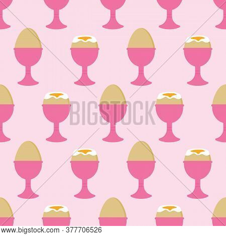 Vector Cartoon Style Seamless Pattern Background With Two Boiled Eggs In The Egg Cups For Breakfast