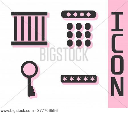 Set Password Protection, Prison Window, Old Key And Password Protection Icon. Vector