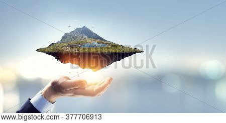 Landscape with mountain floating in the air