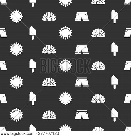 Set Swimming Trunks, Ice Cream, Sun And Scallop Sea Shell On Seamless Pattern. Vector