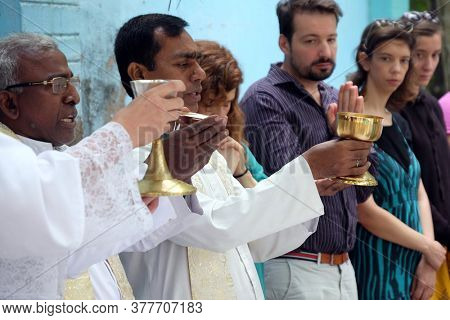 KUMROKHALI, INDIA - FEBRUARY 28, 2020: Mass at the Tomb of the Croatian Missionary, Jesuit Father Ante Gabric on the occasion of his 105th birthday in Kumrokhali, West Bengal, India