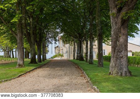 Saint-Emilion, France - August 12, 2019 : Farm entrance at the small French town of Saint-Emilion. A city well known in the world for its fine wines