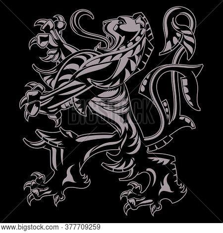 A Medieval Heraldic Coat Of Arms, Heraldic Lion, Heraldic Lion Silhouette