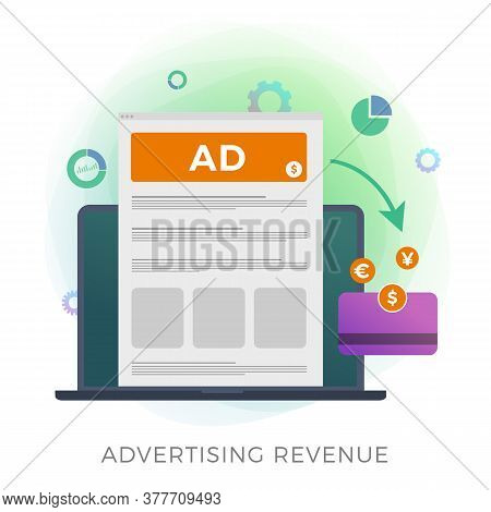 Increase Revenue Online Advertising Vector Icon. Data-driven Marketing With Growth Profit Business R