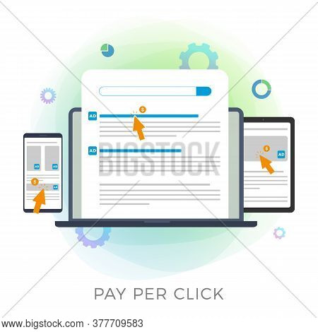 Pay Per Click (ppc) Flat Vector Icon. Advertising Marketing Business Campaign Illustration. Paid Med
