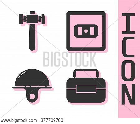 Set Toolbox, Hammer, Worker Safety Helmet And Electrical Outlet Icon. Vector
