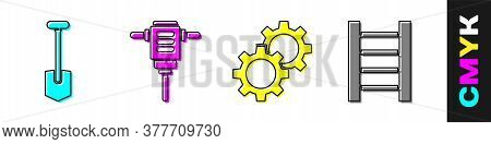 Set Shovel, Electric Rotary Hammer Drill, Gear And Wooden Staircase Icon. Vector