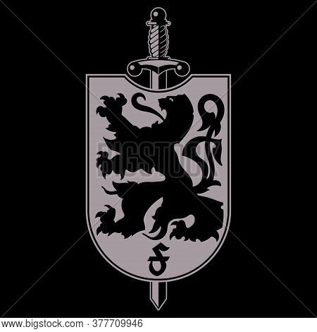 Heraldic Coat Of Arms. Heraldic Lion Silhouette, Heraldic Shield With A Lion And Sword