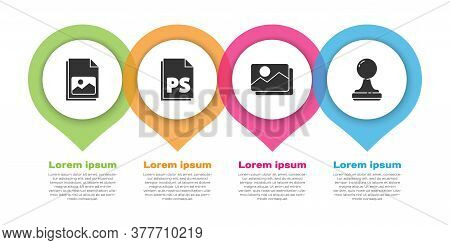 Set Picture Landscape, Ps File Document, Picture Landscape And Stamp. Business Infographic Template.
