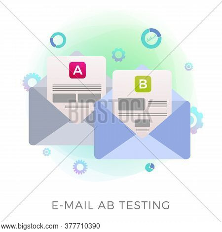 Email Ab Testing Flat Vector Icon Concept. Two Promotional Mails With A Different Web Development Ui