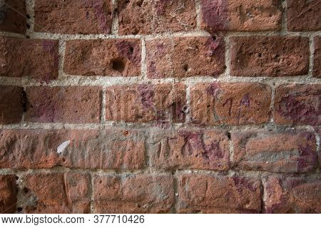 Red Brick Wall Close-up. Background, Texture, Base
