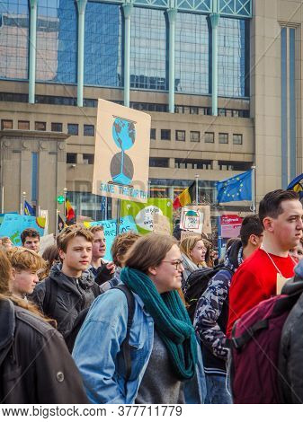 21 February 2019 - Brussels, Belgium: The 7th School Strike For Climate Protest March At The Brussel