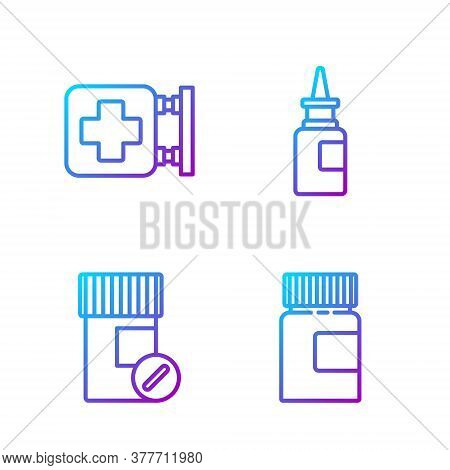 Set Line Medicine Bottle, Medicine Bottle And Pills, Hospital Signboard And Bottle Nasal Spray. Grad