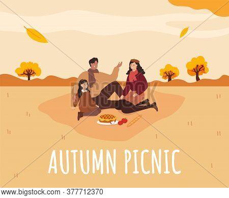 Family Picnic In Autumn. Apple Pie. Cozy Autumn Picnic. Vector