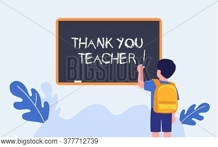 Thank You Teacher. Teachers Day. Elementary Student Writing On Chalkboard. Schoolboy. Vector