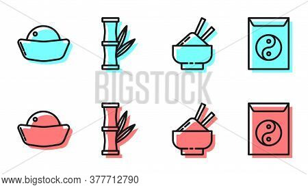 Set Line Rice In A Bowl With Chopstick, Sushi, Bamboo And Yin Yang And Envelope Icon. Vector