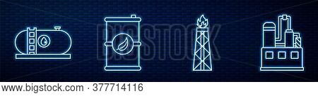 Set Line Oil Rig With Fire, Oil Industrial Factory Building, Bio Fuel Barrel, Oil Industrial Factory
