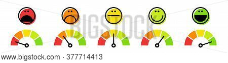 Speedometer, Tachometer Icon. Colour Speedometer Set. Scale From Red To Green Performance Measuremen