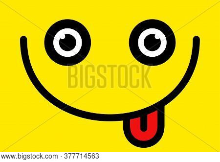Yummy Smile Vector Cartoon Line Emoticon With Tongue Lick Mouth. Delicious Tasty Food Eating Emoji F