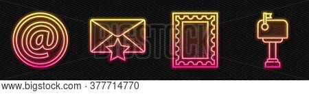 Set Line Postal Stamp, Mail And E-mail, Envelope With Star And Mail Box. Glowing Neon Icon. Vector
