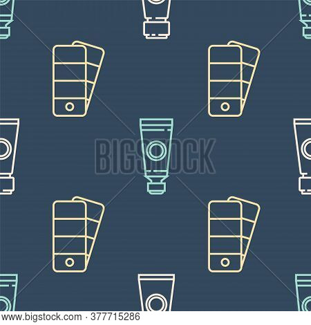 Set Line Tube With Paint Palette, Palette And Tube With Paint Palette On Seamless Pattern. Vector