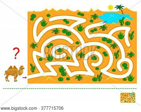 Logic Puzzle Game With Labyrinth For Children And Adults. Help The Camel Find The Way In The Desert