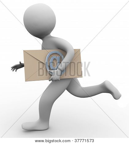 3D Man With Email Envelope
