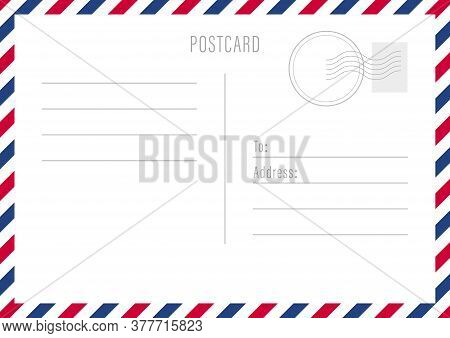 Postal Travel Card Art Design. Blank Airmail Mockup Template. Abstract Concept Graphic Element. Vect