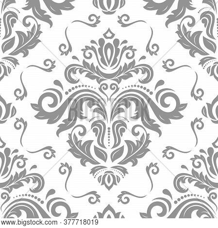 Classic Seamless Vector Pattern. Damask Orient Ornament. Classic Vintage Light Gray Background. Orie