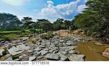 A Picturesque Dry Bed Of An African River In The Dry Season. Sunny Day. Large Flat Stones Lie At The