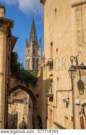 Saint Emilion, France - August 11, 2019: View of the centre of the old medieval town of saint emilion, in aquitaine, france
