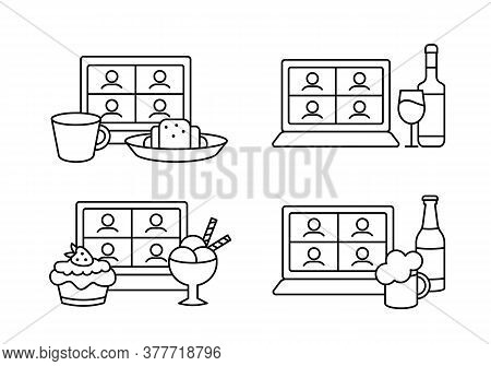 Outline Icons Set Of Friends Online Party With Alcohol And Dessert. Blogger Mukbang Eating Ice Cream