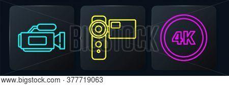 Set Line Cinema Camera, 4k Ultra Hd And Cinema Camera. Black Square Button. Vector