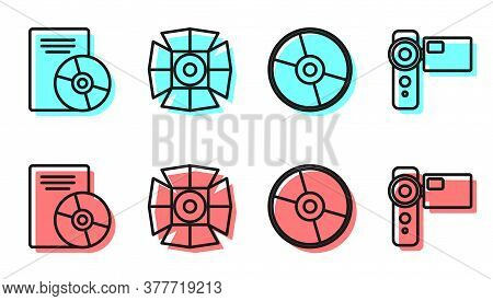Set Line Cd Or Dvd Disk, Cd Or Dvd Disk, Movie Spotlight And Cinema Camera Icon. Vector