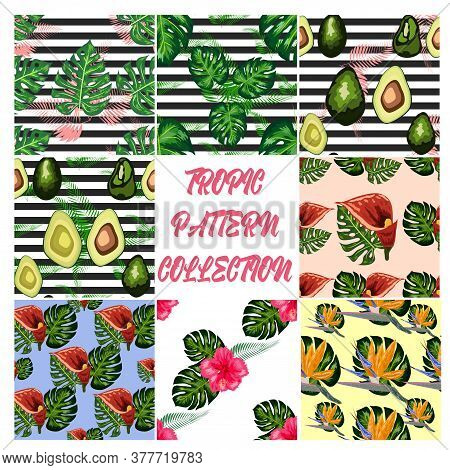 Set Of 8 Tropical Flower Seamless Pattern. Blossom Flowers With Trendy Tropical Leaves And Avocado.