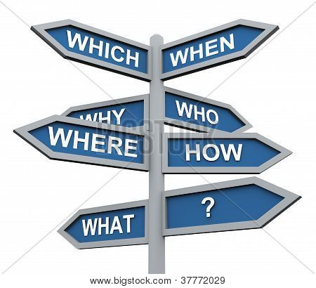3D Questions Direction Sign
