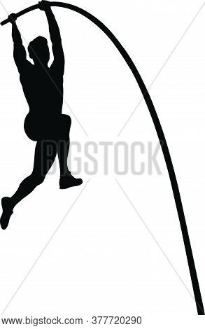 Pole Vault Is Track And Field Event. Man Athlete Black Silhouette