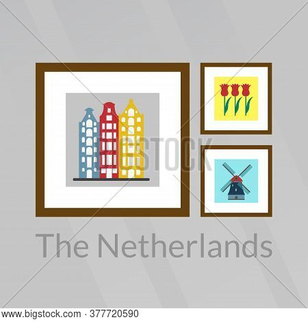 The Netherlands, Holland And Amsterdam Pictures: Old Buildings, Tulips And Windmill. Vector Illustra