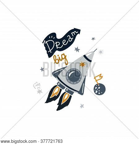 Vector Illustration On The Cosmic Theme In Childish Style