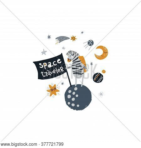 Cute Zebra Standing On A Planet. Vector Illustration On The Cosmic Theme